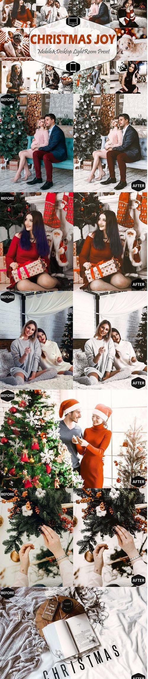 Christmas Joy Mobile & Desktop Lightroom Presets, brown Xmas - 404949