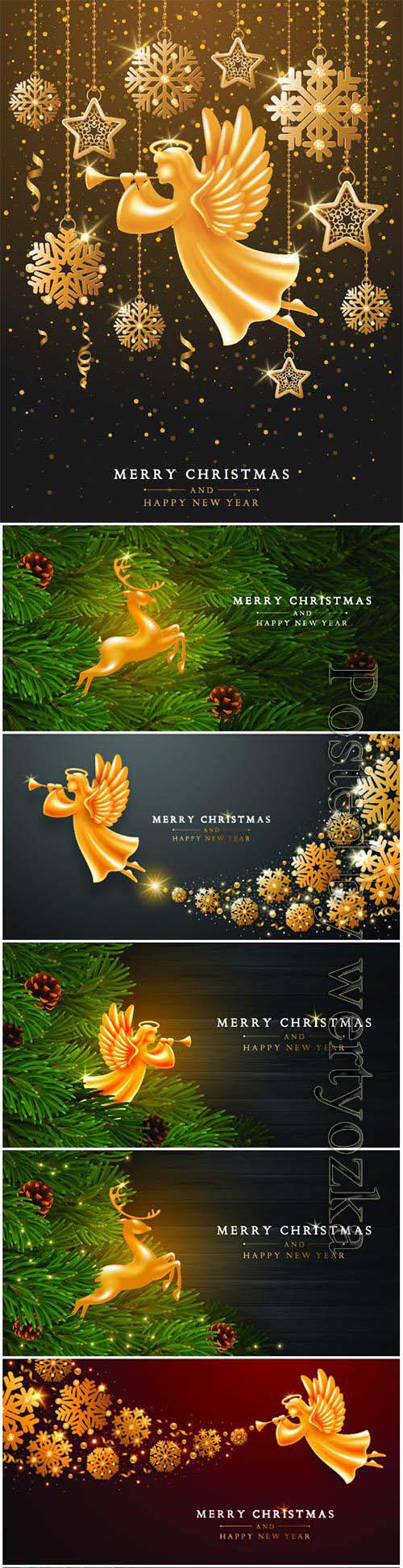 Christmas background with angels and deers in vector
