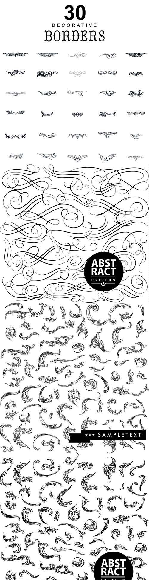 Set of hand-drawing calligraphic floral vector design elements