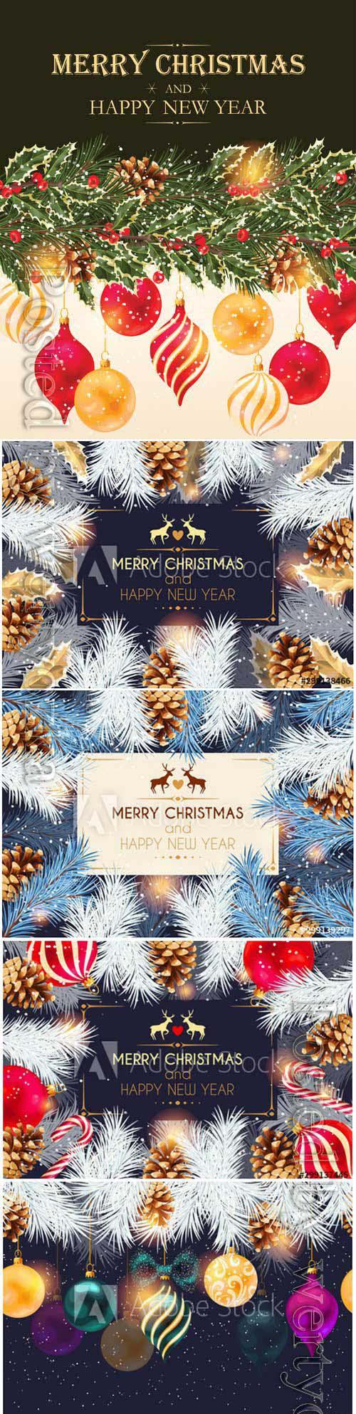 Christmas cards with cones, Christmas balls and Christmas tree