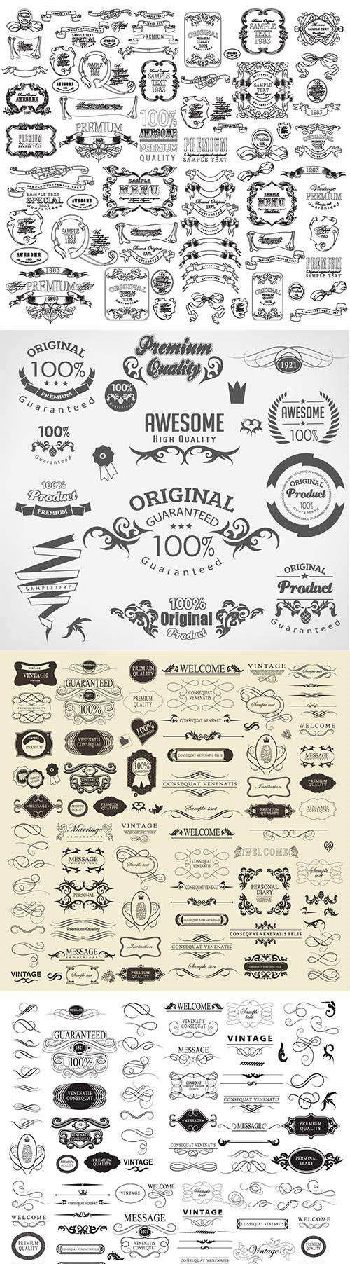 Set of hand-drawing calligraphic floral design elements # 6