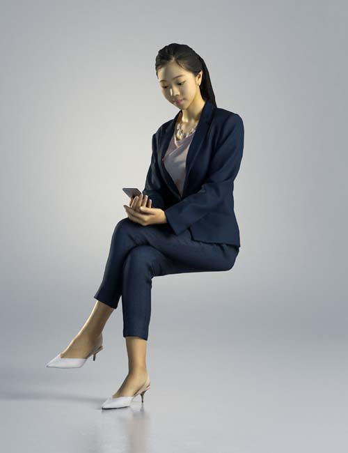 Woman Emily Business Sitting 002 3D model