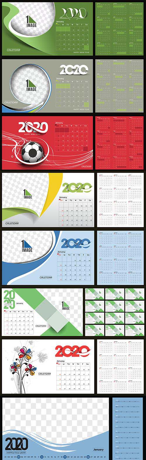 Happy new year 2020 Calendar vector illustration