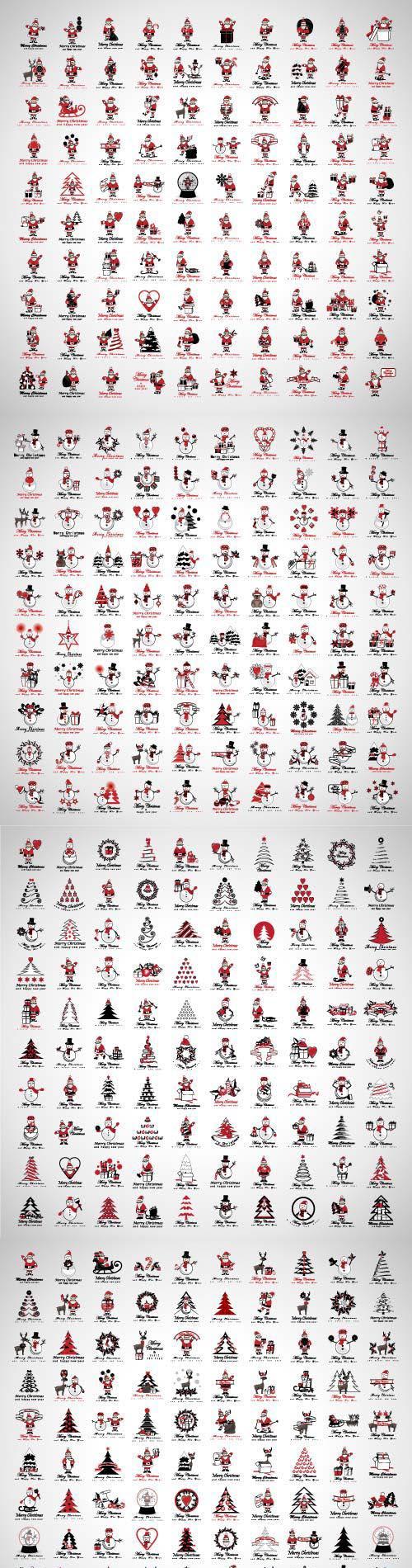 Santa Claus icons and Christmas elements set