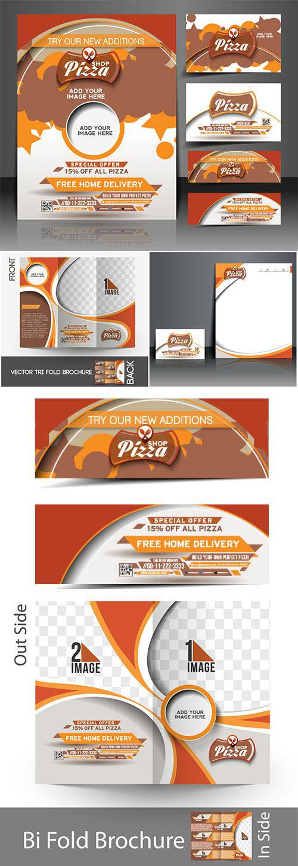 Pizza shop flyer, business vector card