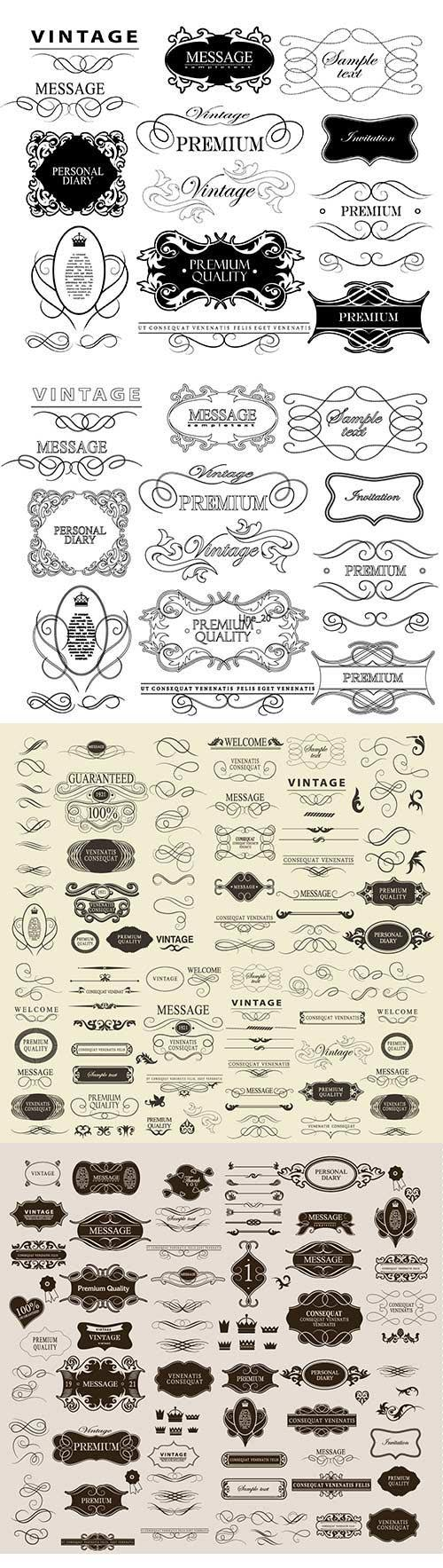 Set of hand-drawing calligraphic floral design