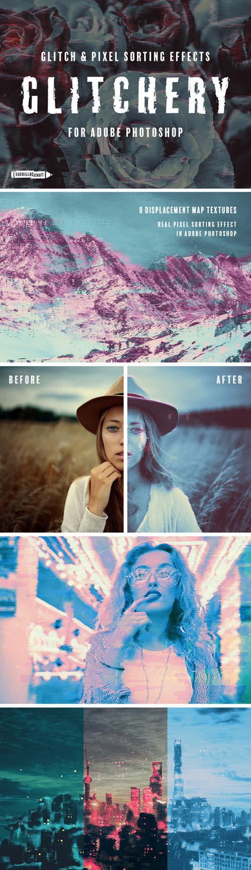 Glitchery - Glitch & Pixel Sorting Effects for Adobe Photoshop