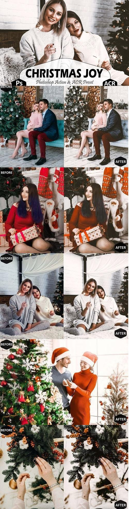 Christmas Joy Photoshop Actions And ACR Presets, brown Xmas - 406947