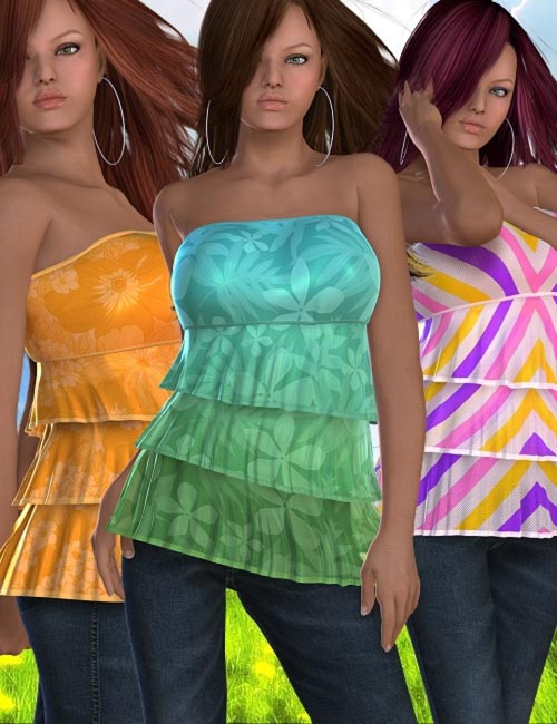 Summertime Styles for Ruffle Top10 new highly detailed texture styles for the Ruffle Top.
