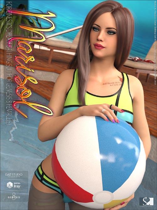 Marisol for Dream Bathing Suit for Genesis 8 Females