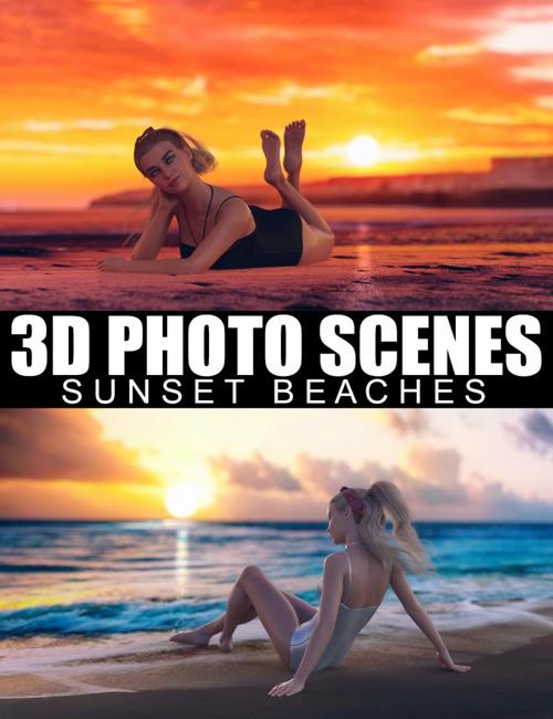 3D Photo Scenes - Sunset Beaches