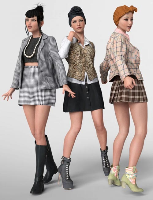 3 dForce Vintage Outfits for Genesis 8 Female
