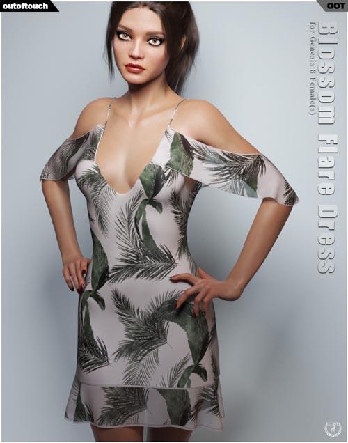 dForce Blossom Flare Dress for Genesis 8 Female