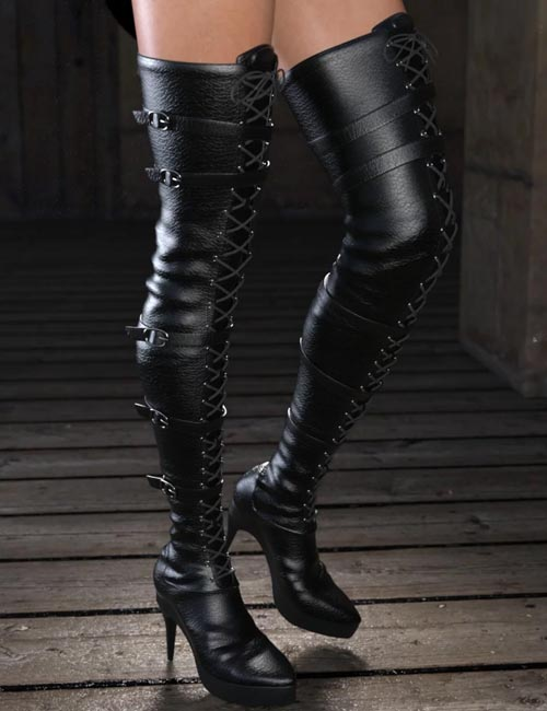 Long Lace Up Boots for Genesis 8 Female(s)