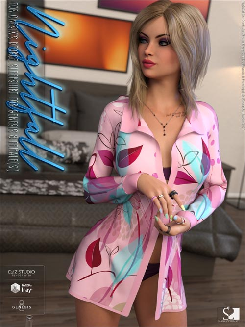 Nightfall for dForce Sleepshirt for Genesis 8 Females