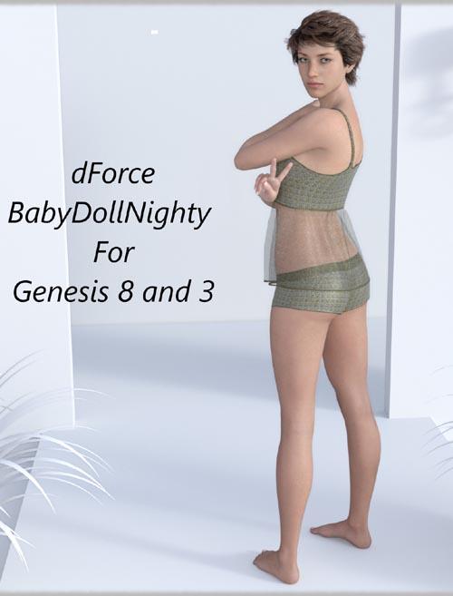 dForce BabyDollNighty For genesis 8 and 3