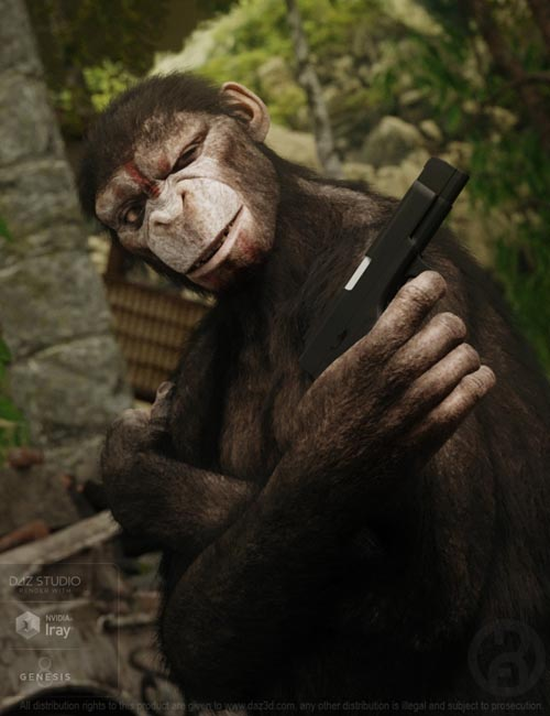 Ape World Chimp with dForce Hair for Genesis 8 Male