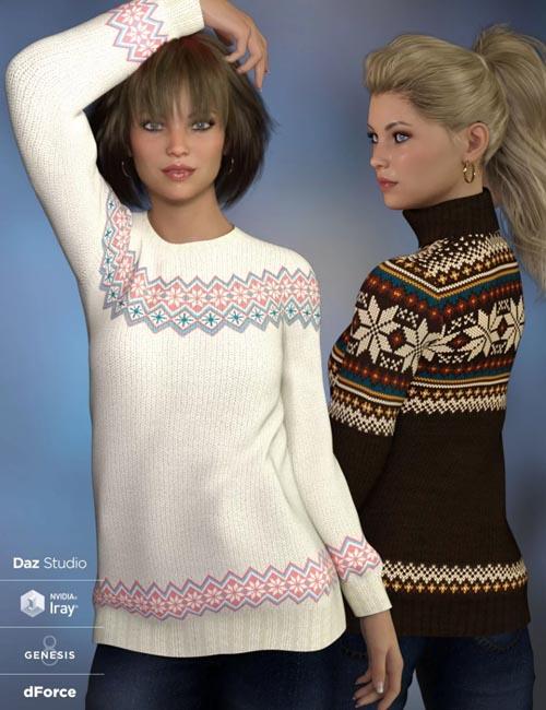 dForce Fair Isle Sweaters for Genesis 8 Female