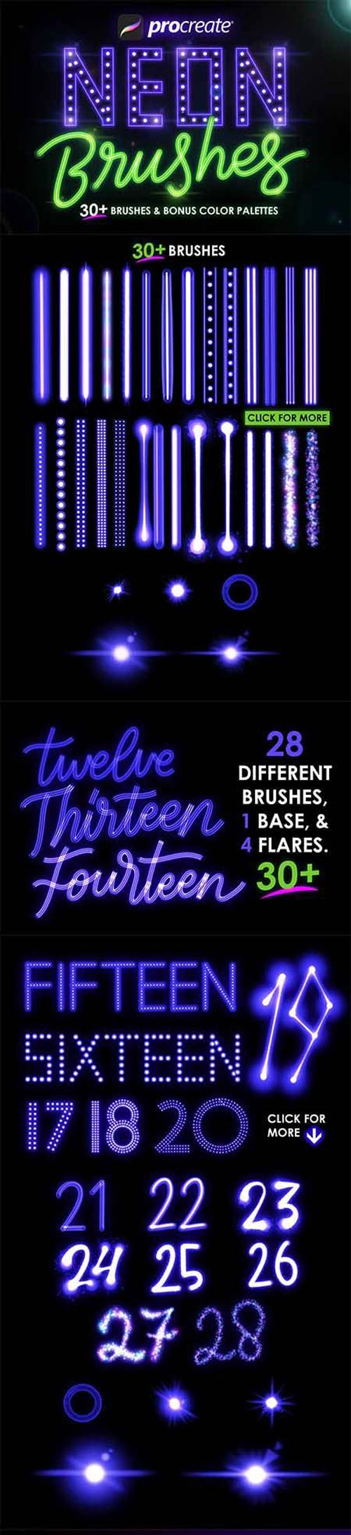 30+ Procreate Neon Brushes 4613024