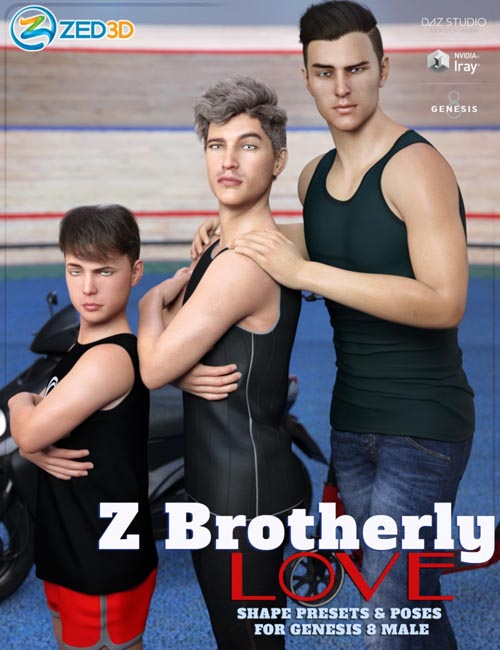 Z Brotherly Love Shape Presets and Poses for Genesis 8 Male