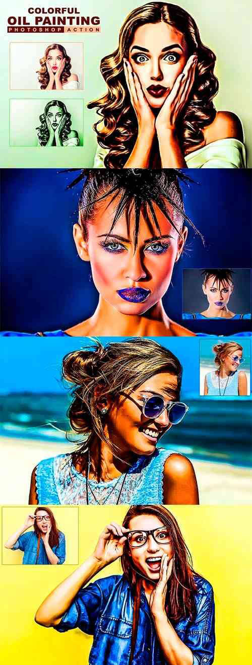 colorful Oil Painting Photoshop Action 3177435