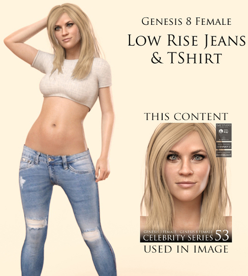 Lowrise Jeans And TShirt for Genesis 8 Female
