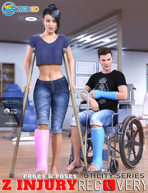 Z Injury Recovery Props and Poses for Genesis 8