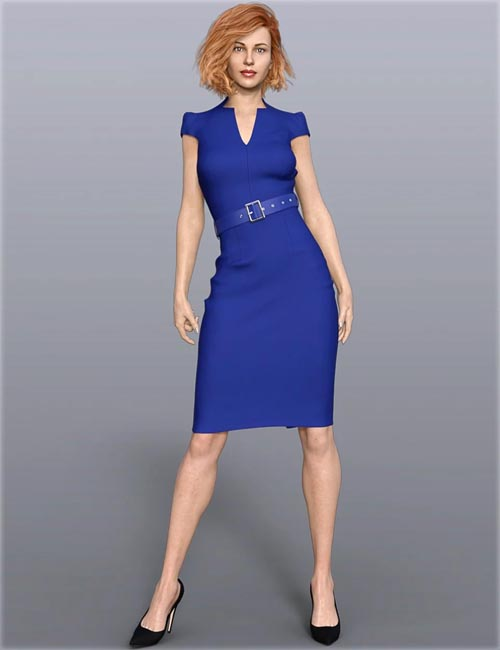 dForce H&C Belted Office Dress Outfit for Genesis 8 Female(s)