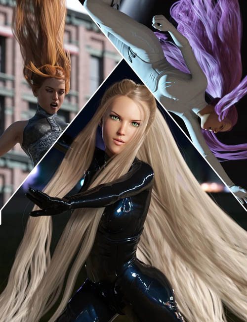 Turbulent Tail Hair for Genesis 3 and 8 Female(s)
