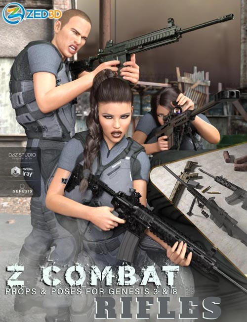 Z Combat Rifles and Poses for Genesis 3 and 8