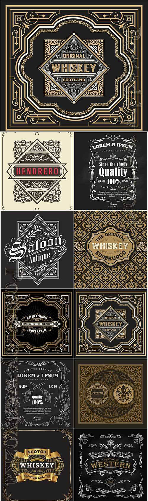 Vector vintage labels, emblems, logos, ribbons, patterns # 19