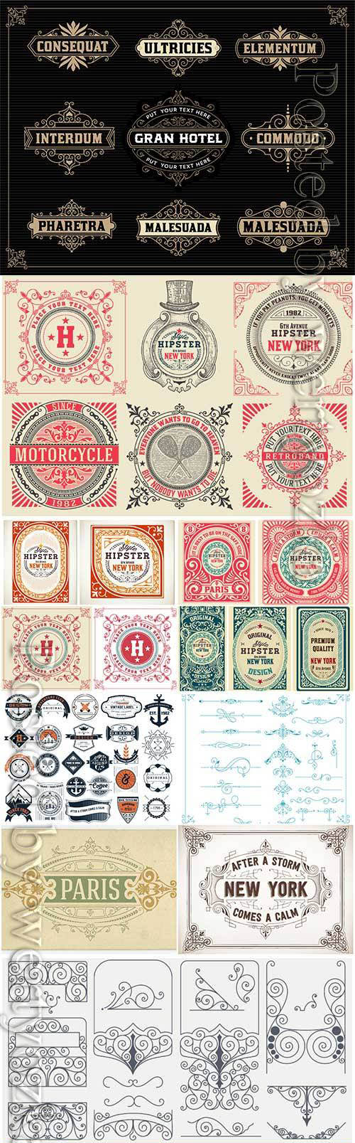 Vector vintage labels, emblems, logos, ribbons, patterns # 17