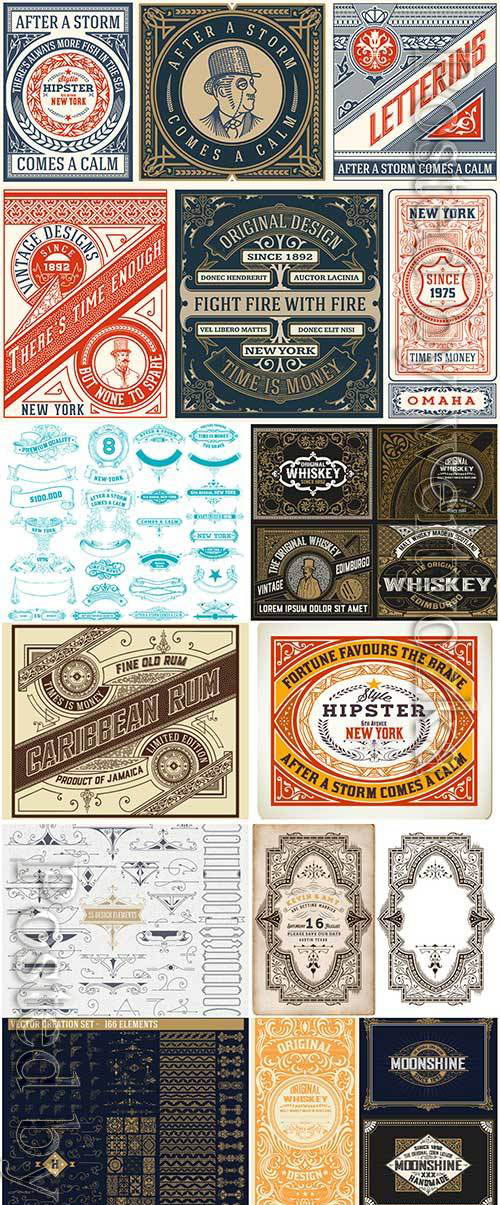 Vector vintage labels, emblems, logos, ribbons, patterns # 16