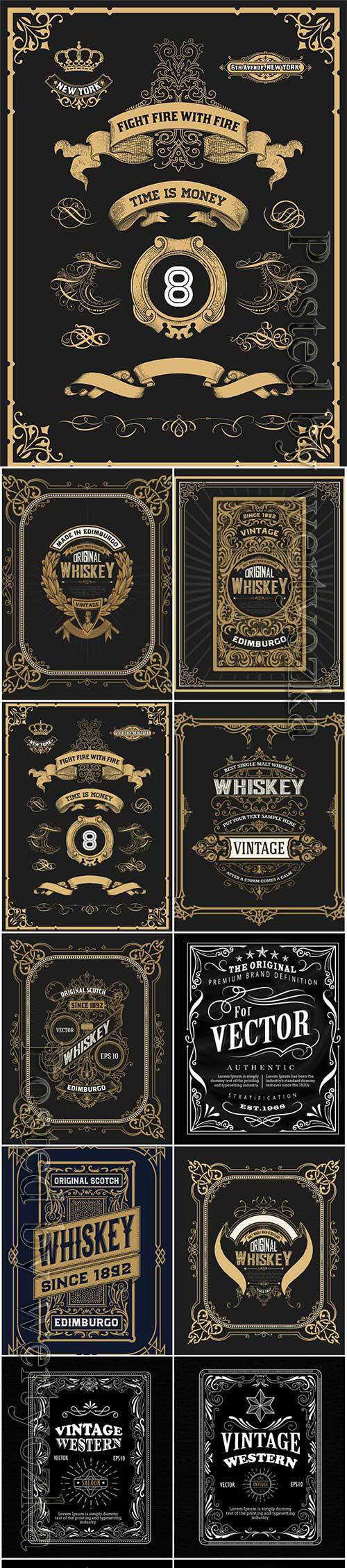 Vector vintage labels, emblems, logos, ribbons, patterns # 14