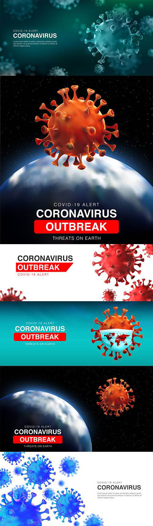 Threats coronavirus outbreak on ground 3d illustration