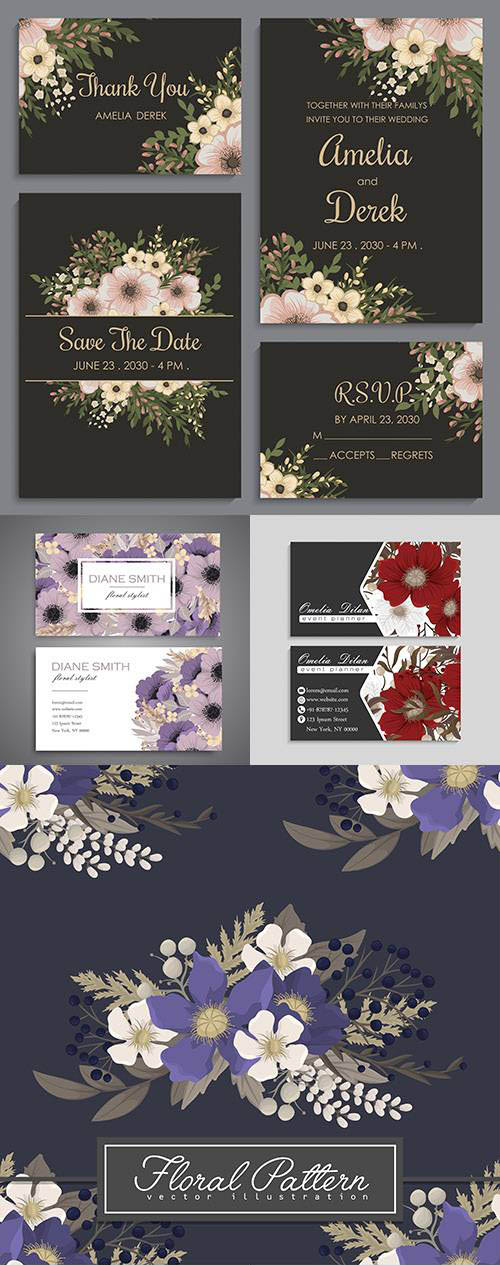 Business card and floral decorative background 2