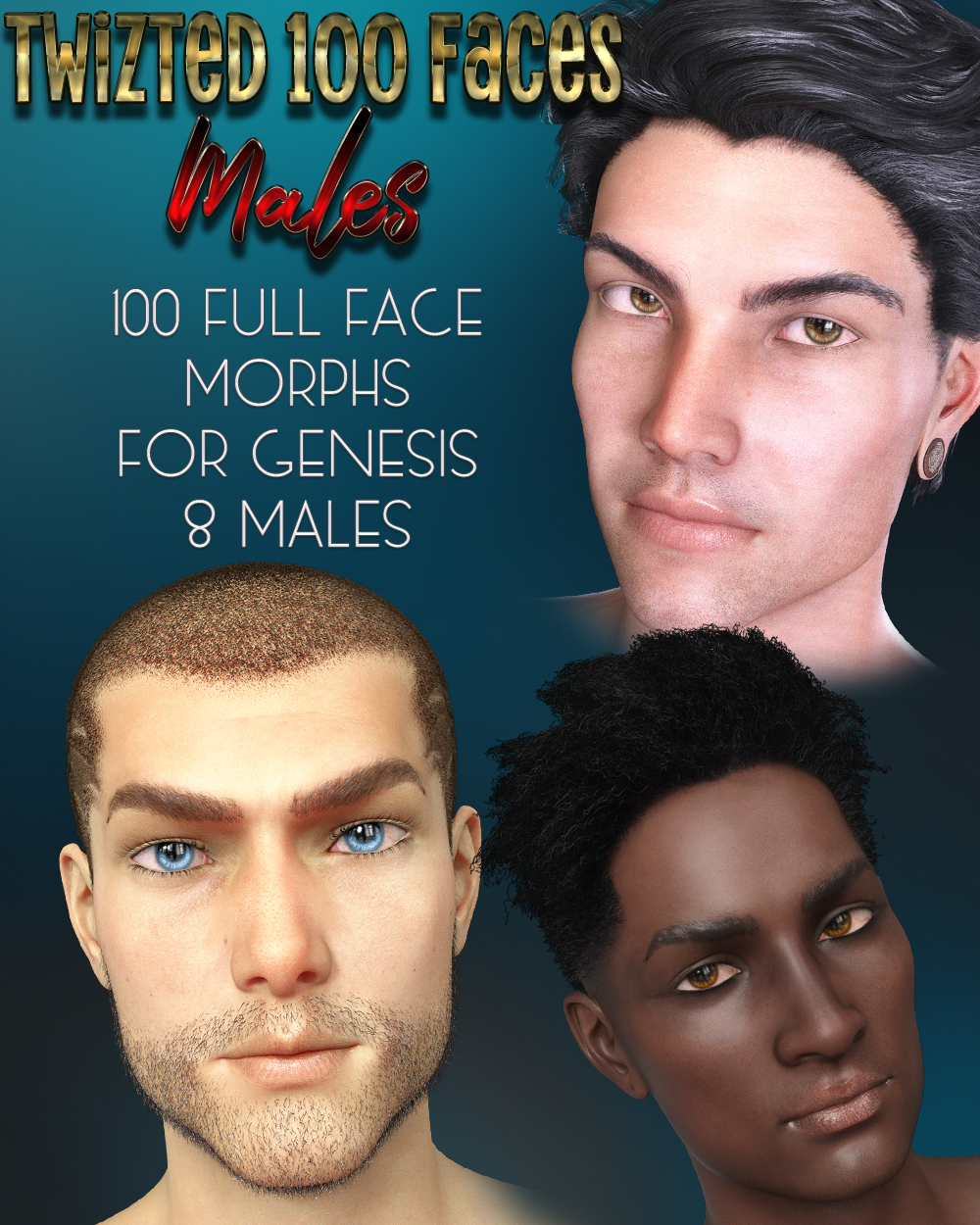Twizted 100 Faces Males for Genesis 8 Males