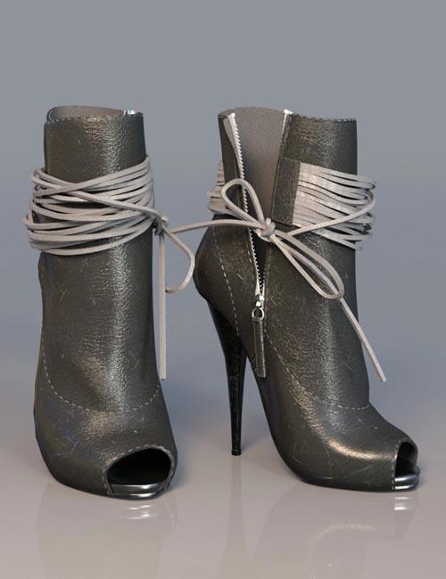 Open Toe High Heel Boots for Genesis 3 Female(s)