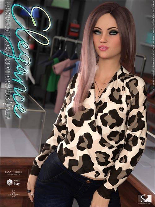 Elegance for dForce V-Neck Knit for Genesis 8 Females