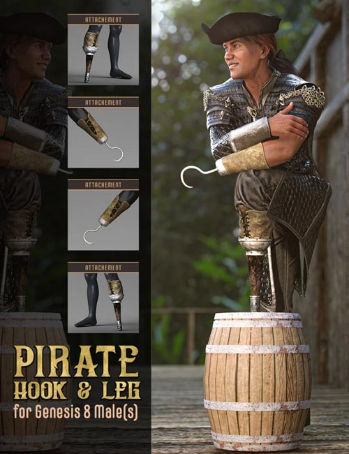 Pirate Hook and Leg for Genesis 8 Male(s)