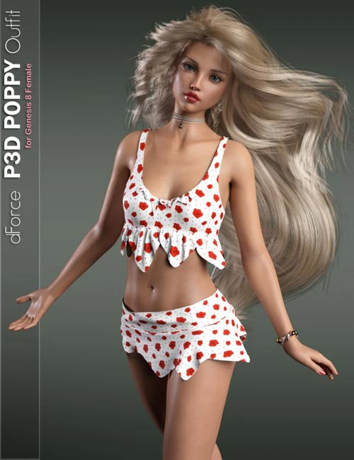 dForce P3D Poppy Outfit for Genesis 8 Female(s)