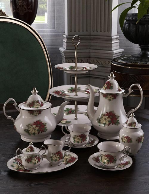 Patterns for Vintage Tea Service Iray