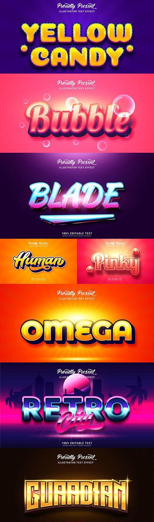 Editable font effect text collection illustration design 167