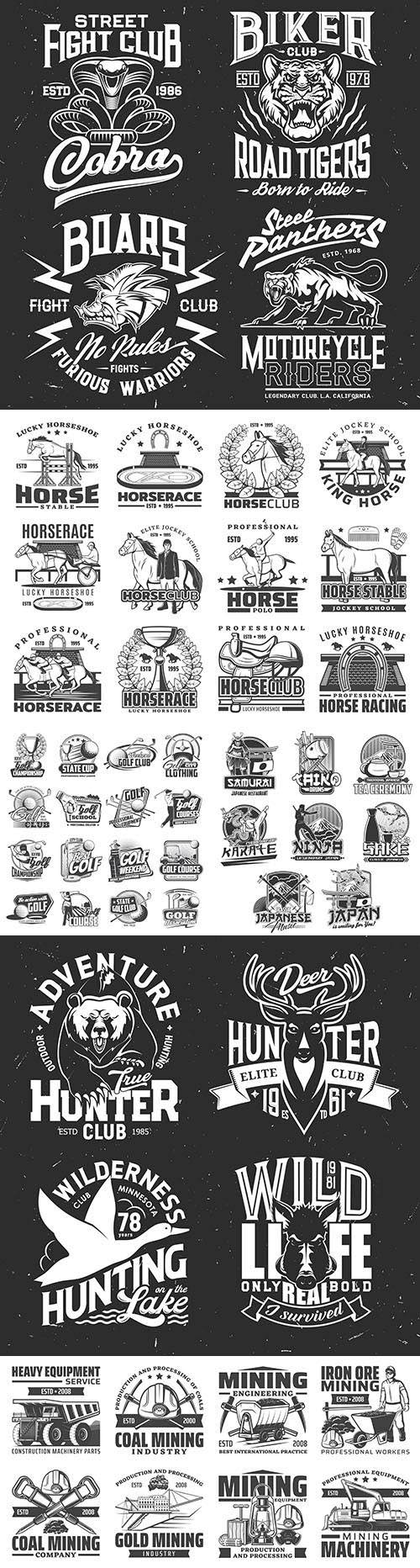Vintage antique emblems and logos with text design 3