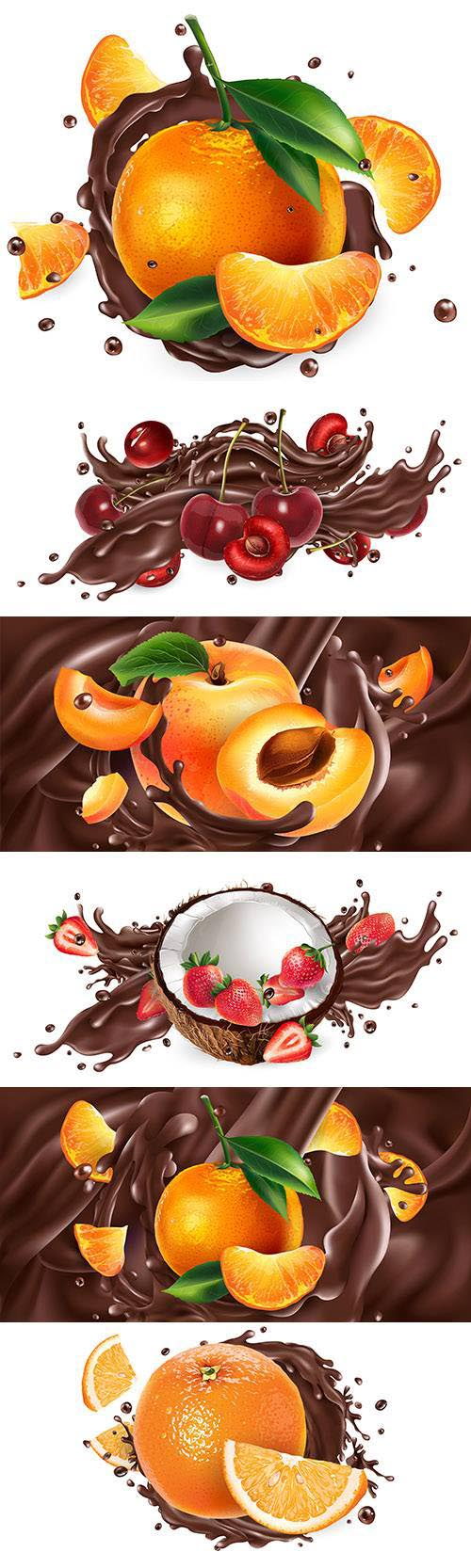 Whole and chopped fruit in chocolate splash realistic illustrations 2