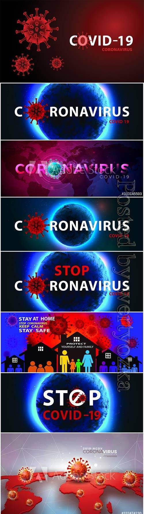 COVID 19, Coranavirus vector illustration sets 28