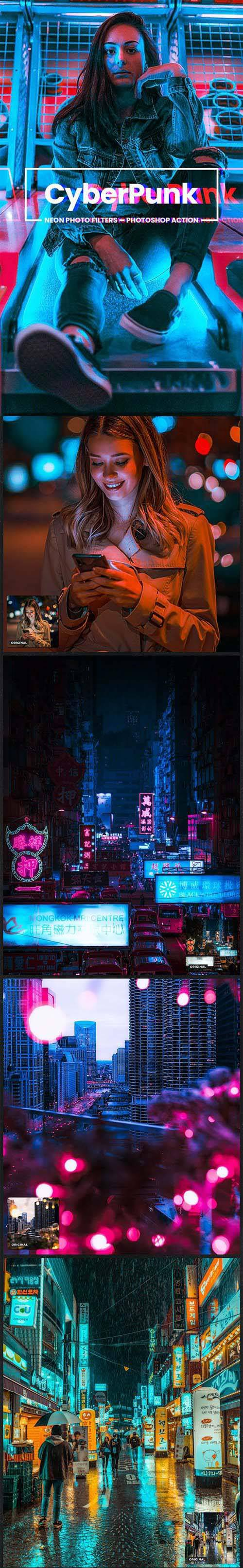 CyberPunk Neon Photo Filters Photoshop Action 26775858