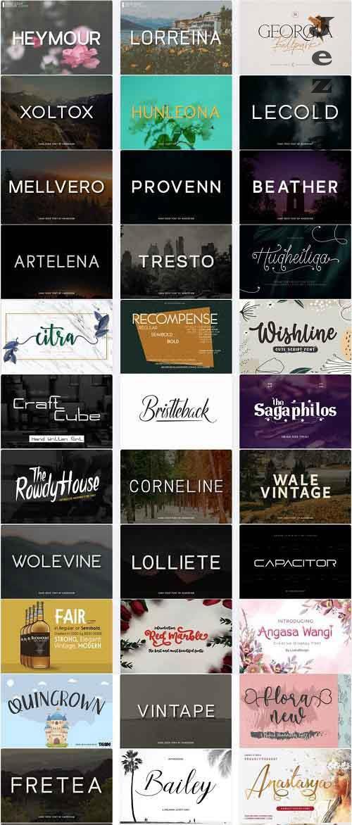 Mix Font Bundle 35 - 36 Premium Fonts
