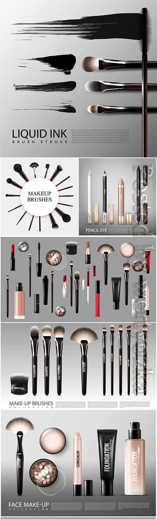 Realistic professional cosmetic tools set