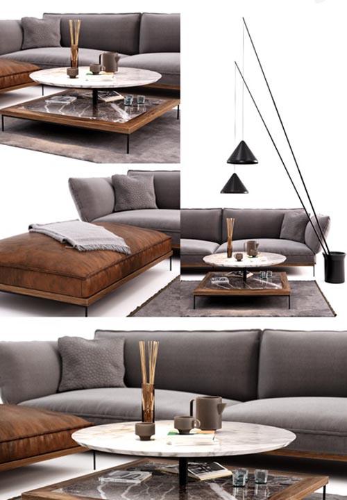 Fogia Jord Sofa Set Vibia North Floor Lamp